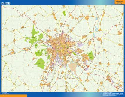 Mapa Dijon en Francia enmarcado plastificado