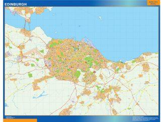 Mapa Edinburgh enmarcado plastificado