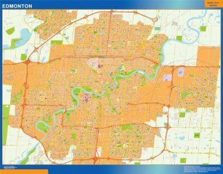 Mapa Edmonton en Canada enmarcado plastificado