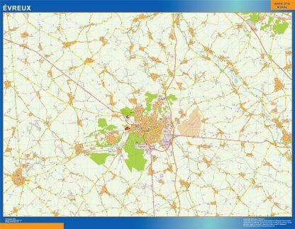 Mapa Evreux en Francia enmarcado plastificado