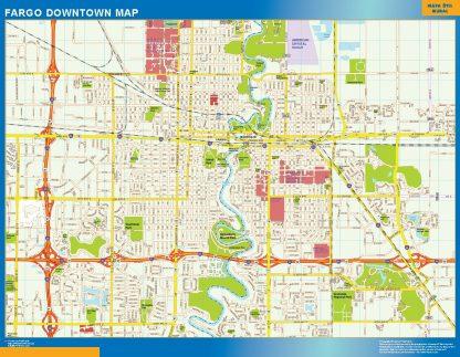 Mapa Fargo downtown enmarcado plastificado