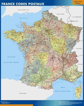 Mapa Francia Codigos Postales enmarcado plastificado