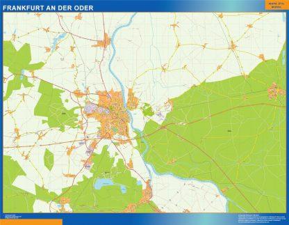 Mapa Frankfurt An Der Oder en Alemania enmarcado plastificado