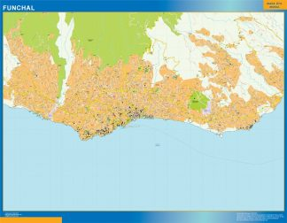 Mapa Funchal en Portugal enmarcado plastificado