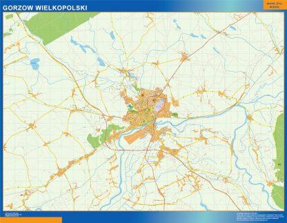 Mapa Gorzow Wielkopolski Polonia enmarcado plastificado