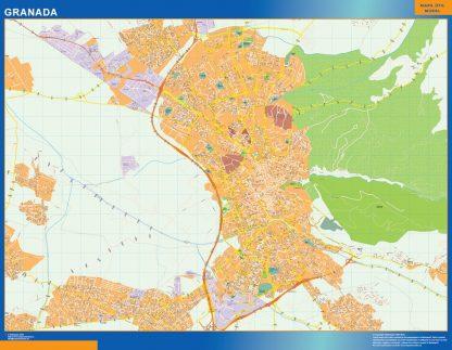 Mapa Granada callejero enmarcado plastificado