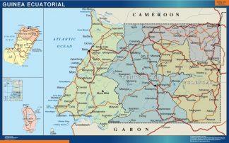 Mapa Guinea Ecuatorial enmarcado plastificado