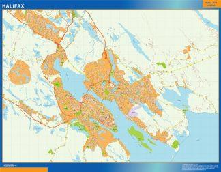 Mapa Halifax en Canada enmarcado plastificado