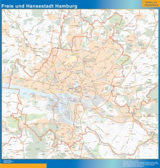 Mapa Hamburgo enmarcado plastificado