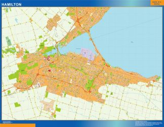 Mapa Hamilton en Canada enmarcado plastificado