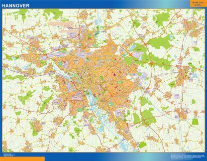 Mapa Hannover en Alemania enmarcado plastificado