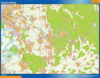 Mapa Heidelberg en Alemania enmarcado plastificado