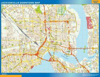 Mapa Jacksonville downtown enmarcado plastificado