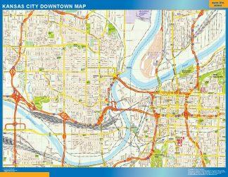 Mapa Kansas City downtown enmarcado plastificado