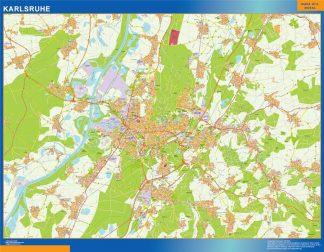 Mapa Karlsruhe en Alemania enmarcado plastificado