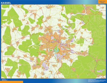 Mapa Kassel en Alemania enmarcado plastificado