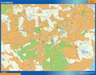 Mapa Katowice Polonia enmarcado plastificado