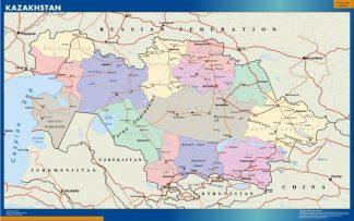 Mapa Kazakhstan enmarcado plastificado