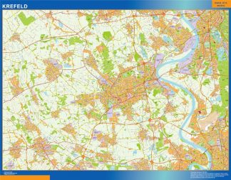 Mapa Krefeld en Alemania enmarcado plastificado