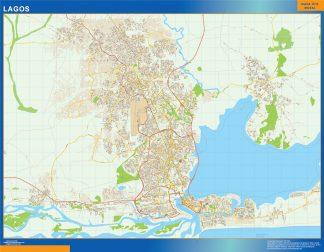Mapa Lagos en Nigeria enmarcado plastificado