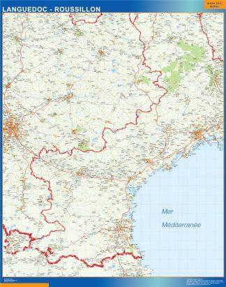 Mapa Languedoc Roussillon en Francia enmarcado plastificado
