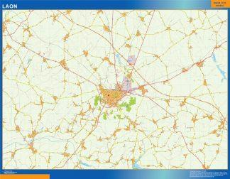 Mapa Laon en Francia enmarcado plastificado