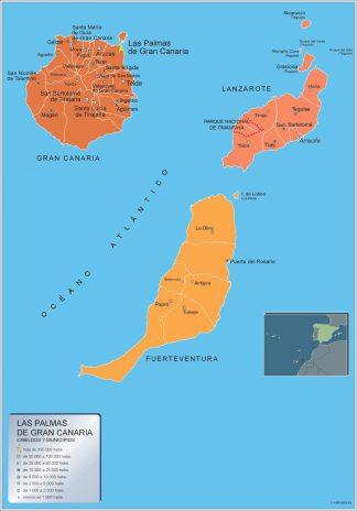 Mapa Las Palmas Gran Canaria por municipios enmarcado plastificado