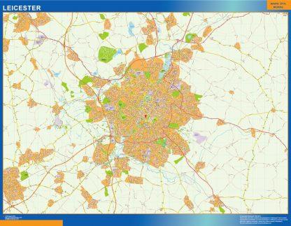 Mapa Leicester enmarcado plastificado