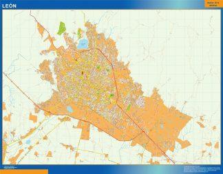 Mapa Leon en Mexico enmarcado plastificado