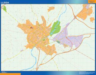 Mapa Lleida callejero enmarcado plastificado