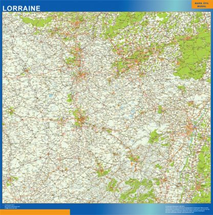 Mapa Lorraine en Francia enmarcado plastificado