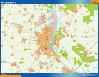 Mapa Magdeburg en Alemania enmarcado plastificado