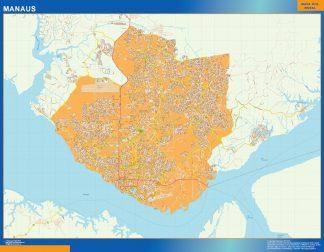 Mapa Manaus Brasil enmarcado plastificado