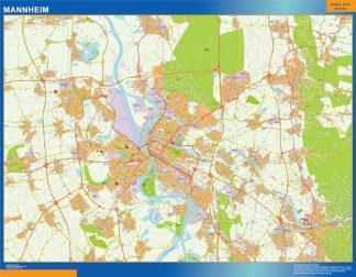 Mapa Mannheim en Alemania enmarcado plastificado