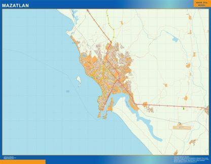 Mapa Mazatlan en Mexico enmarcado plastificado