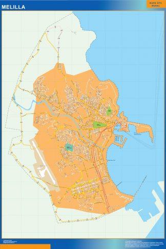 Mapa Melilla callejero enmarcado plastificado