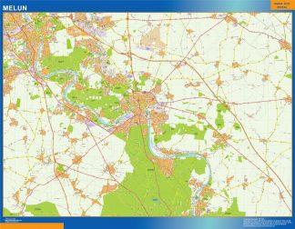 Mapa Melun en Francia enmarcado plastificado