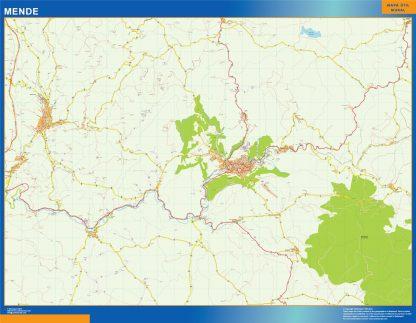 Mapa Mende en Francia enmarcado plastificado
