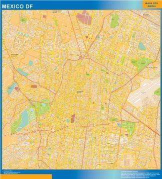 Mapa Mexico Df en Mexico enmarcado plastificado