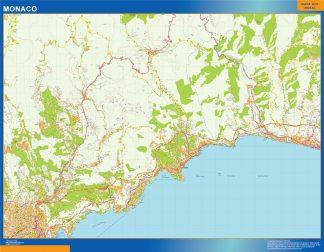 Mapa Monaco en Francia enmarcado plastificado