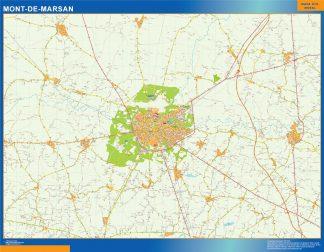 Mapa Mont De Marsan en Francia enmarcado plastificado