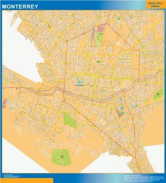 Mapa Monterrey Centro en Mexico enmarcado plastificado
