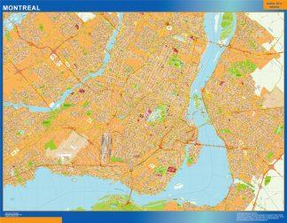 Mapa Montreal en Canada enmarcado plastificado