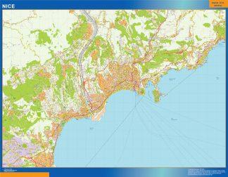 Mapa Nice en Francia enmarcado plastificado