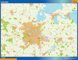 Mapa Odense en Dinamarca enmarcado plastificado