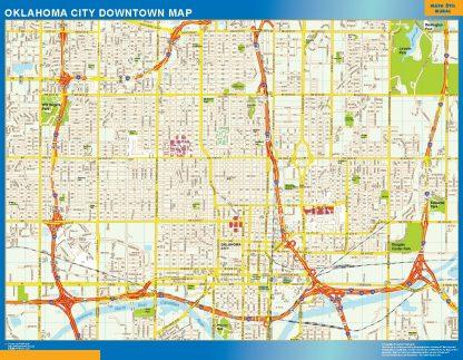 Mapa Oklahoma City downtown enmarcado plastificado