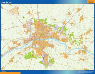 Mapa Orleans en Francia enmarcado plastificado
