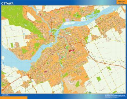 Mapa Ottawa en Canada enmarcado plastificado