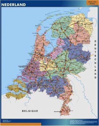 Mapa Paises Bajos enmarcado plastificado