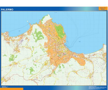 Mapa Palermo enmarcado plastificado